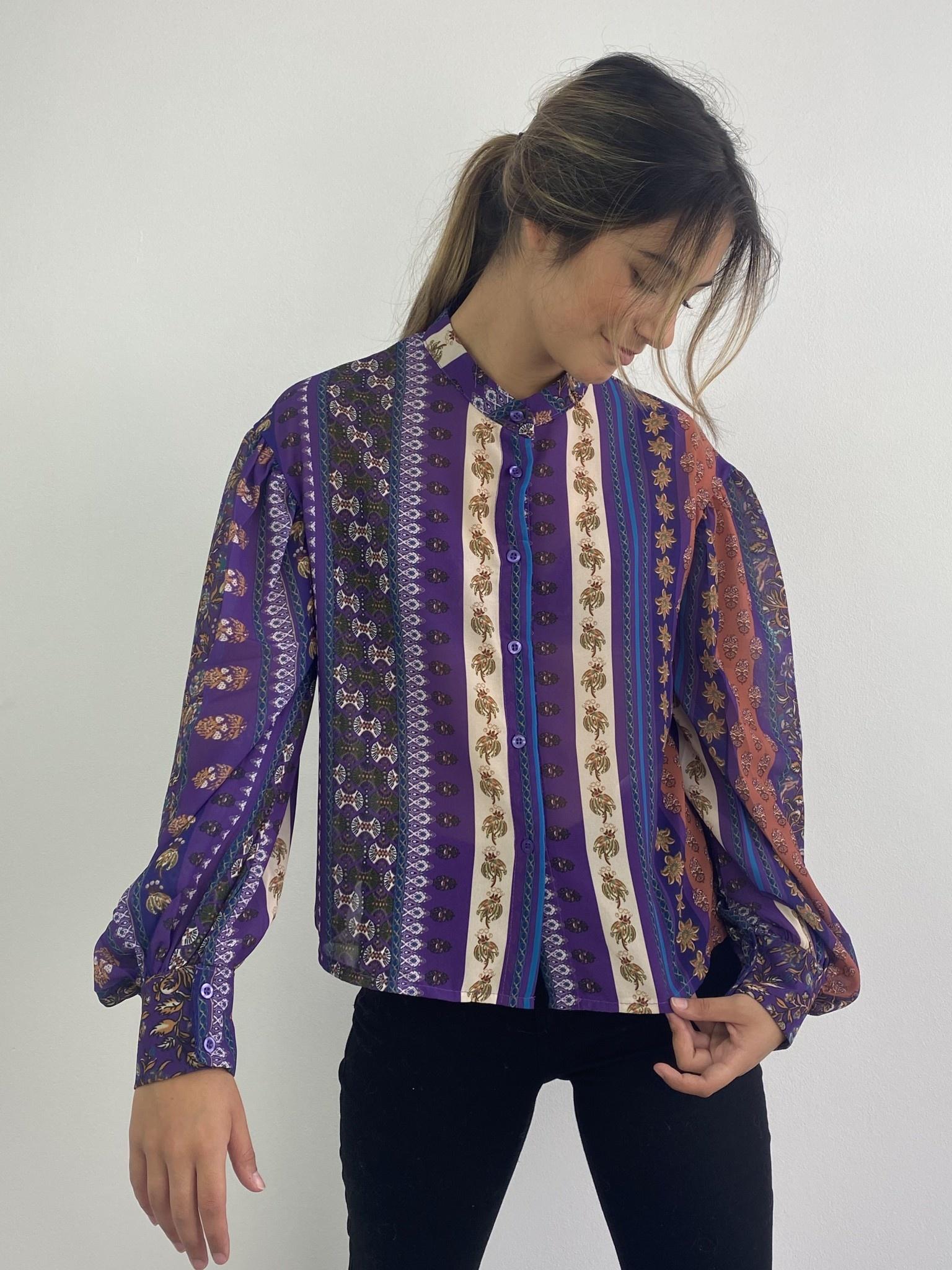 Faith ballonsleeve blouse Fleuri Violet-2