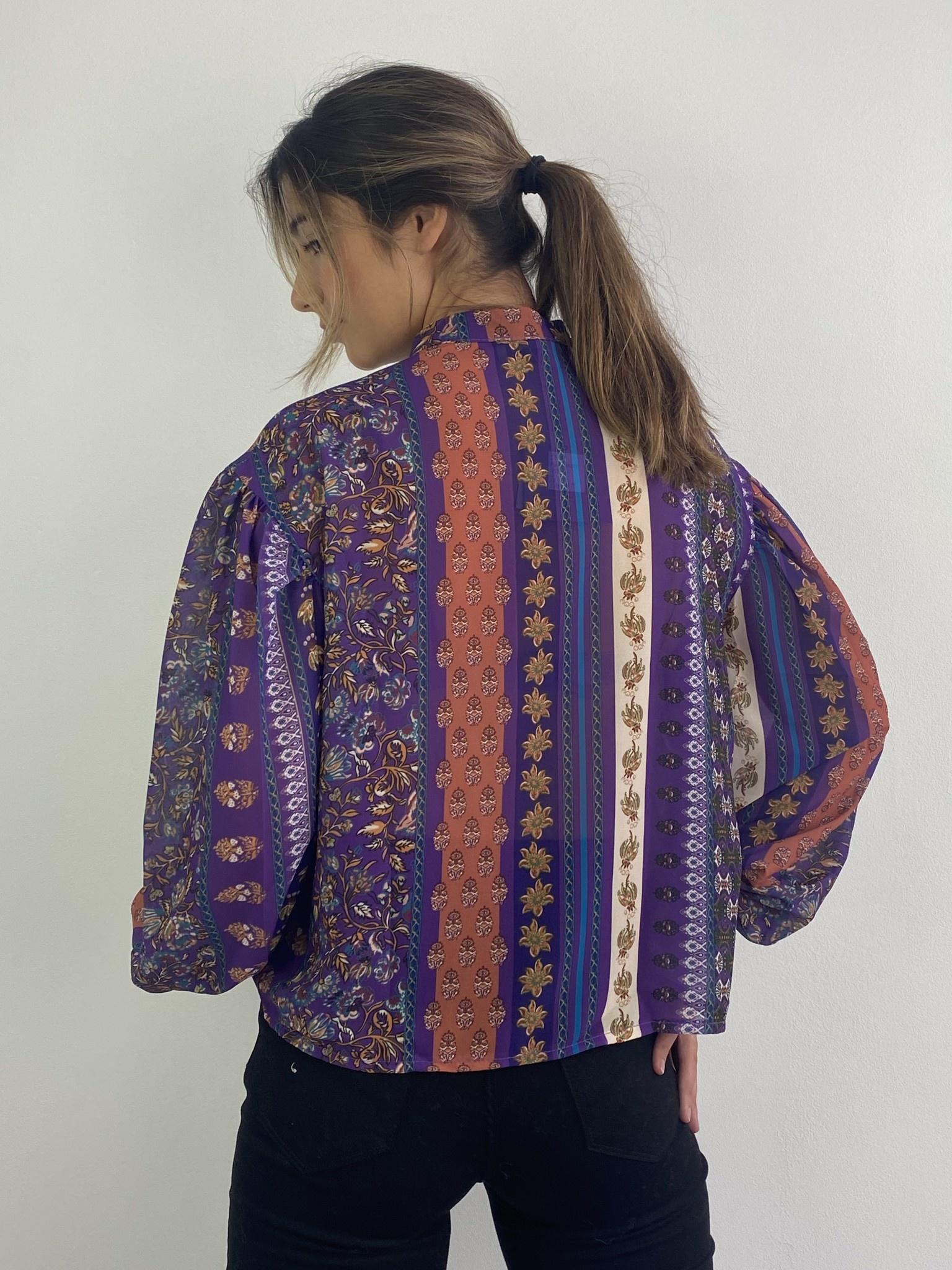 Faith ballonsleeve blouse Fleuri Violet-3