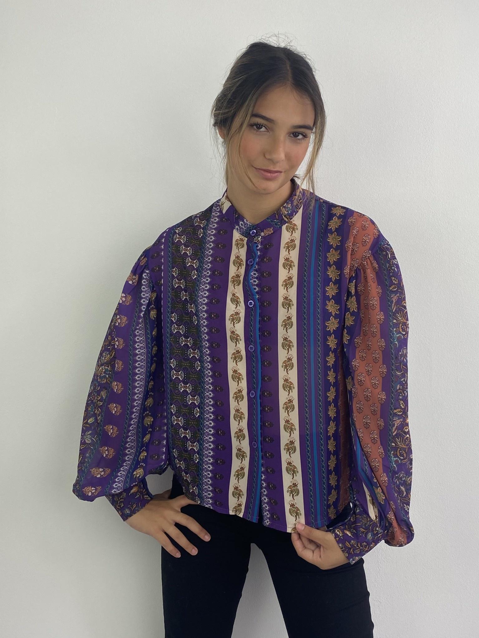 Faith ballonsleeve blouse Fleuri Violet-4
