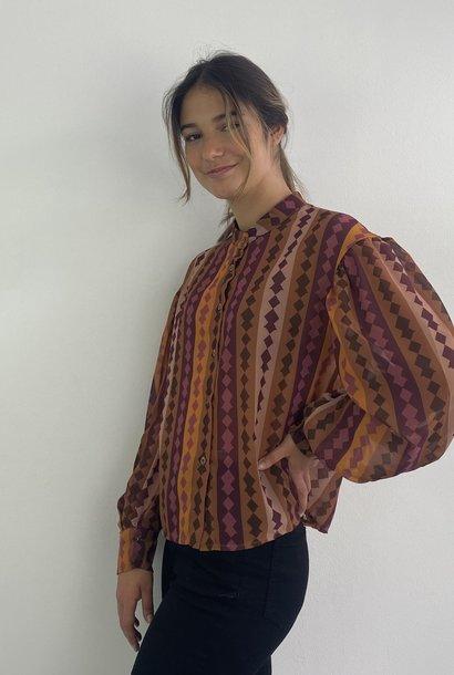 Faith ballonsleeve blouse Harlequin Brown