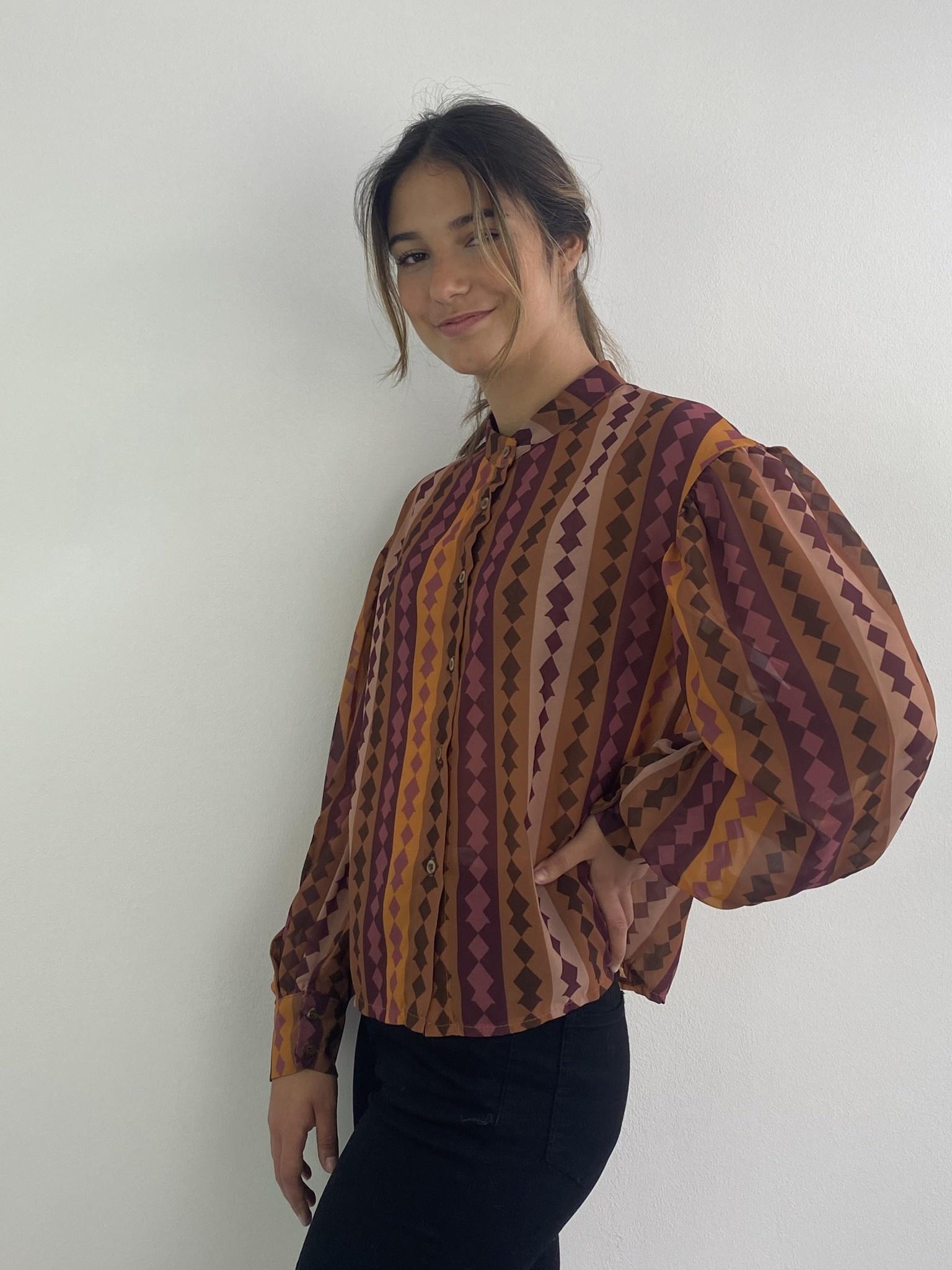 Faith ballonsleeve blouse Harlequin Brown-1
