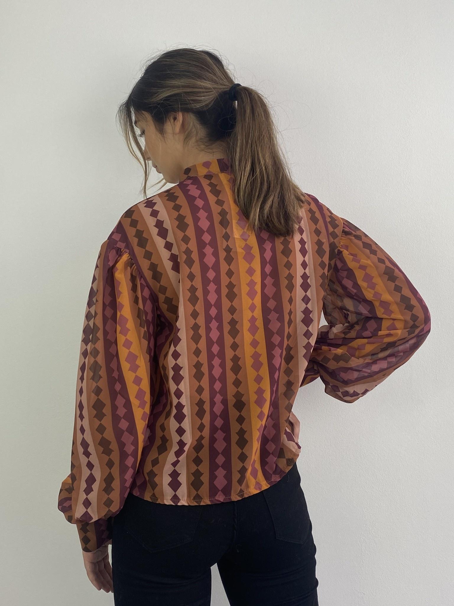 Faith ballonsleeve blouse Harlequin Brown-3