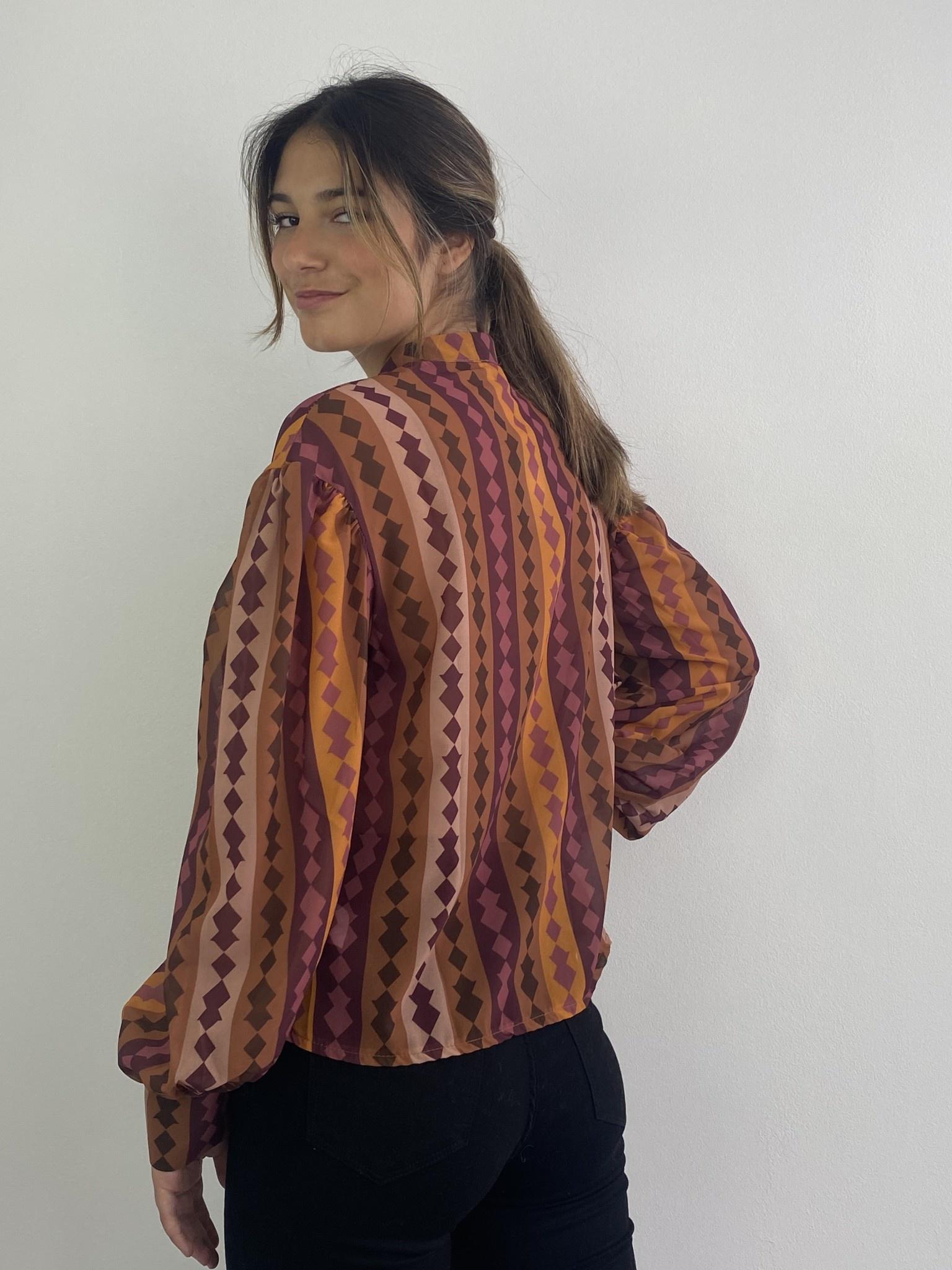 Faith ballonsleeve blouse Harlequin Brown-2