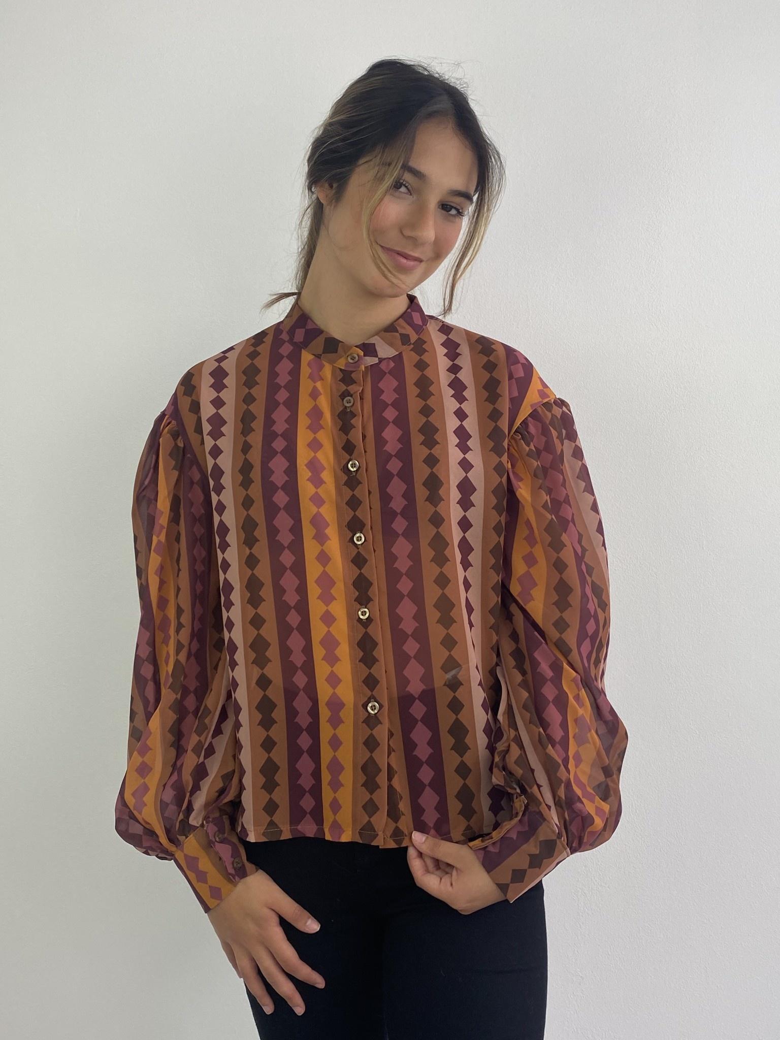 Faith ballonsleeve blouse Harlequin Brown-4