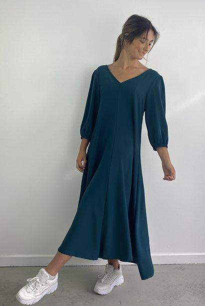 Lynn midi dress double V-neck Petrol