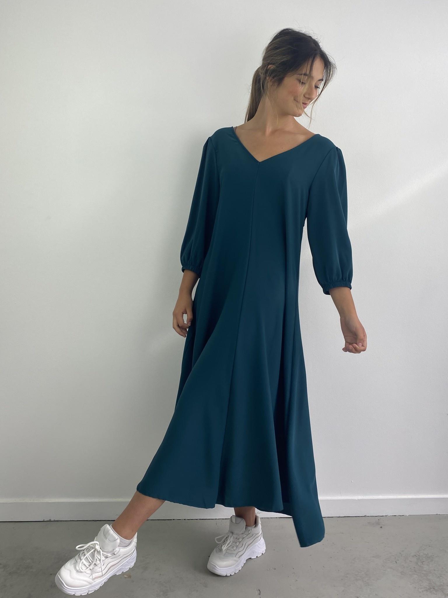 Lynn midi dress double V-neck Petrol-1