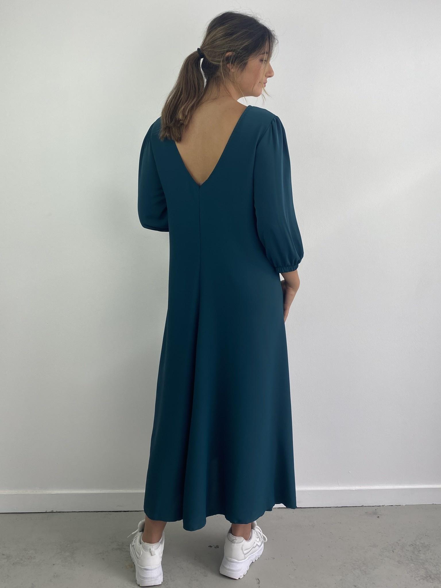 Lynn midi dress double V-neck Petrol-3