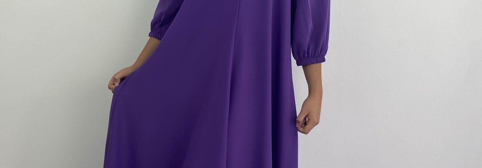 Lynn midi dress double V-neck Purple