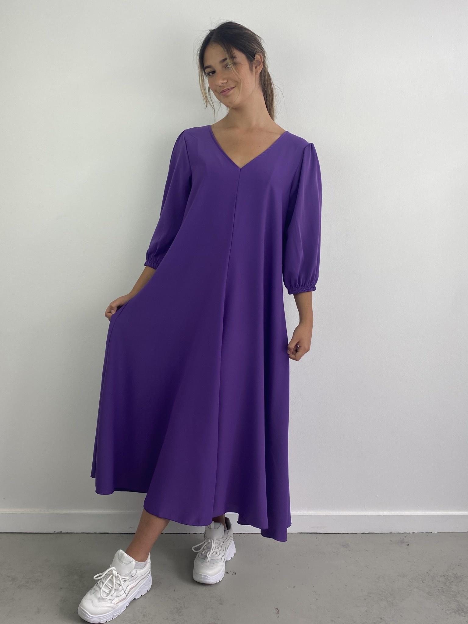Lynn midi dress double V-neck Purple-1