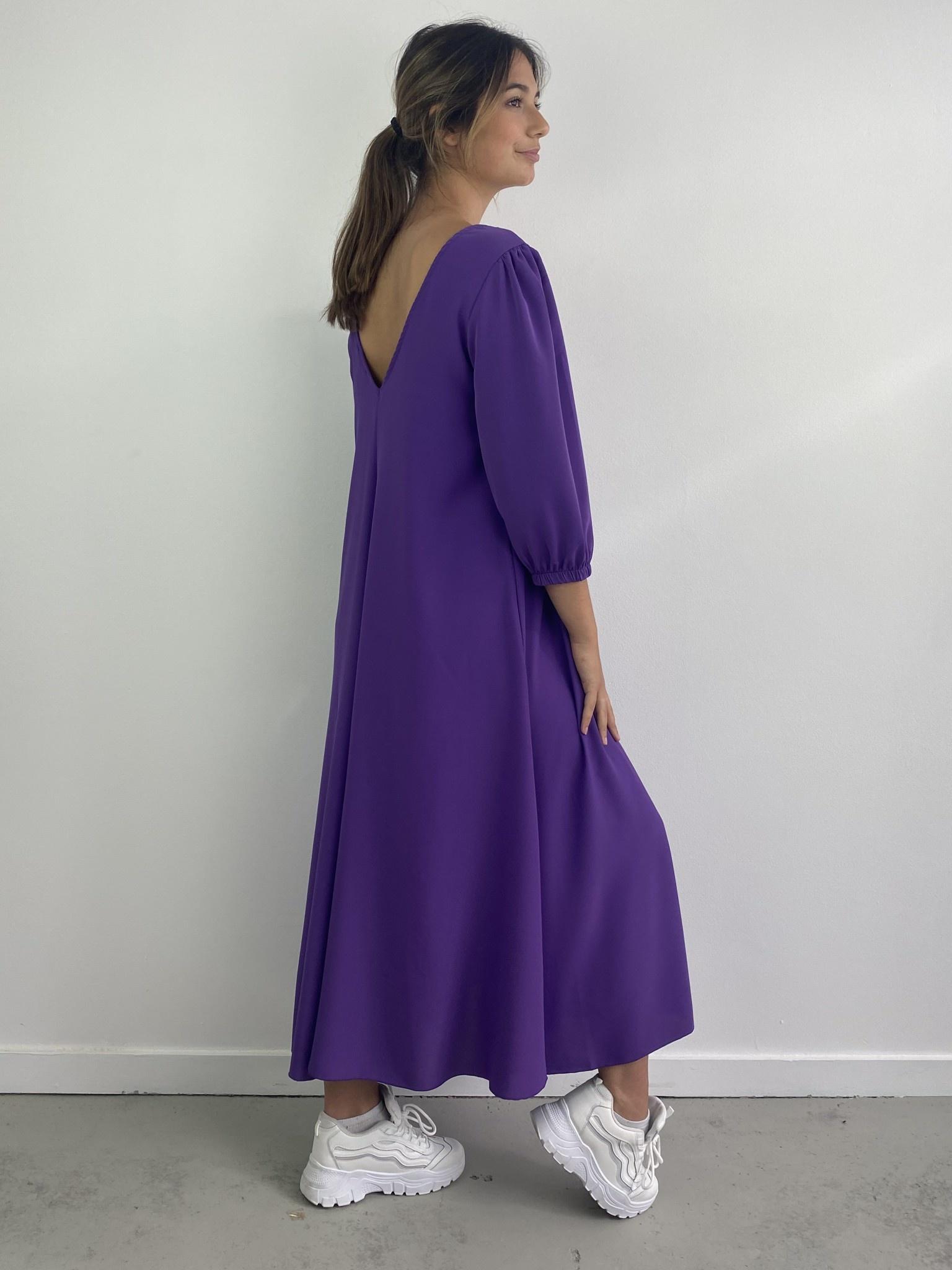 Lynn midi dress double V-neck Purple-2