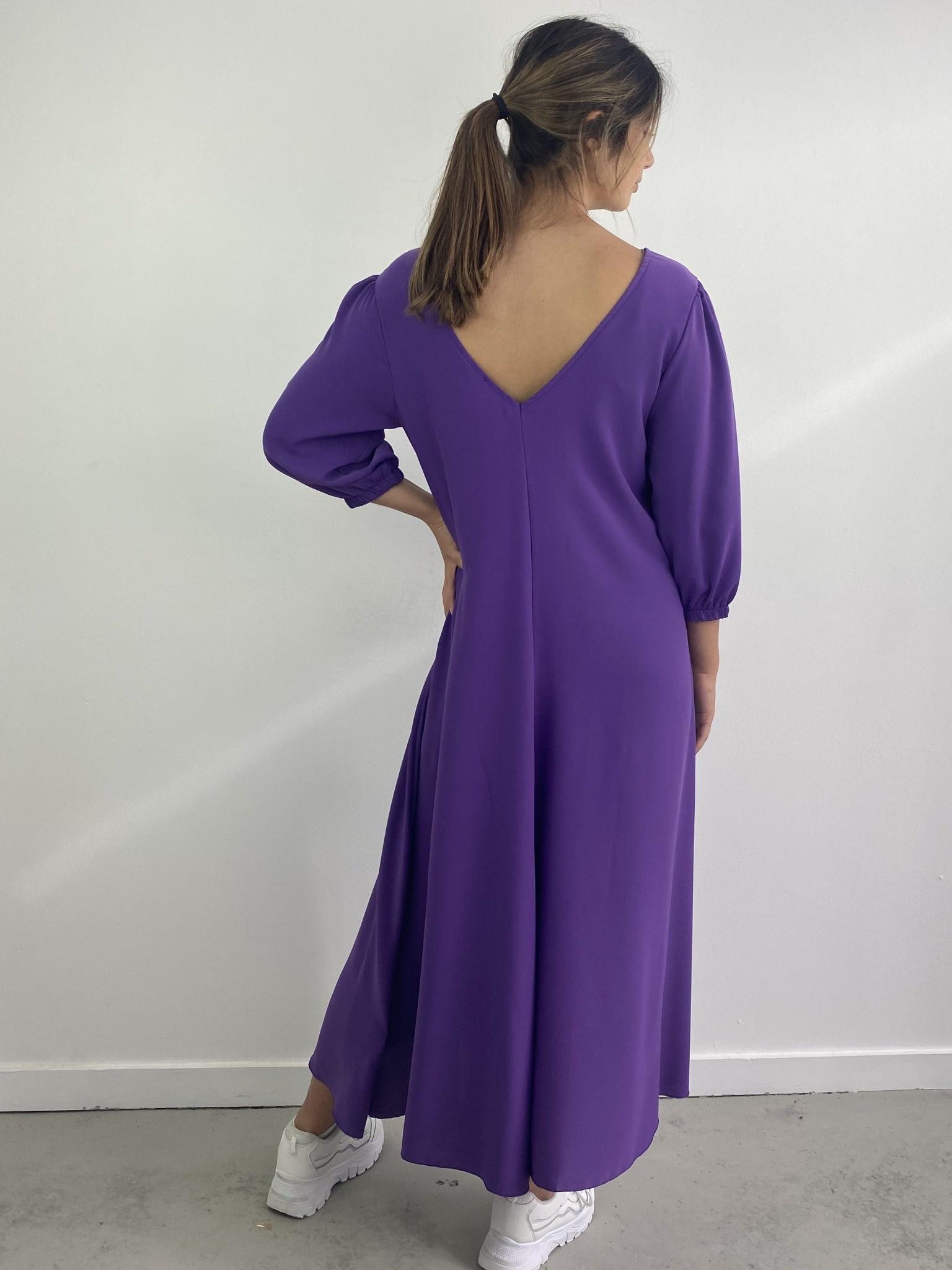 Lynn midi dress double V-neck Purple-3