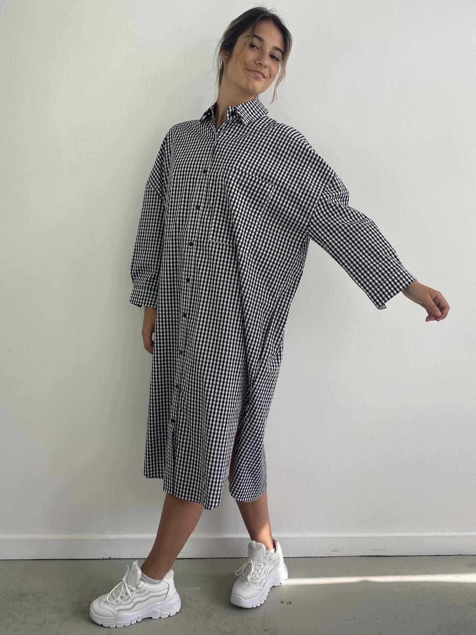Harlow midi shirtdress Vichy Black-4