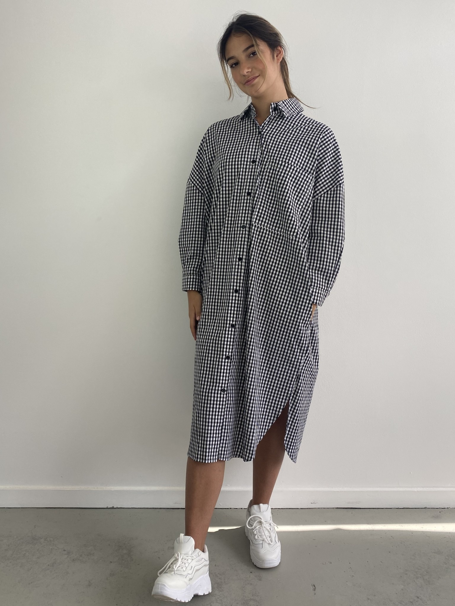 Harlow midi shirtdress Vichy Black-1