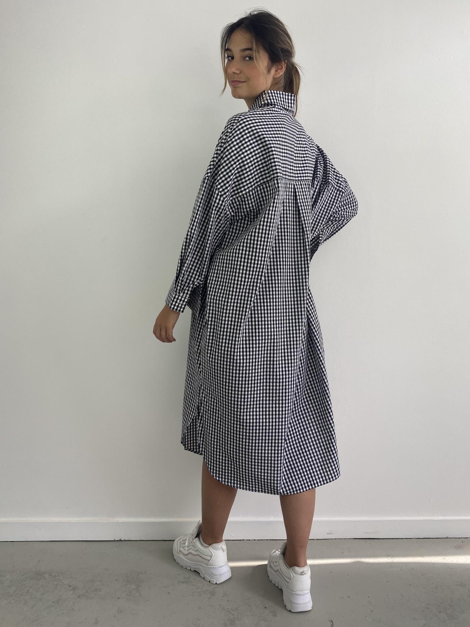 Harlow midi shirtdress Vichy Black-2