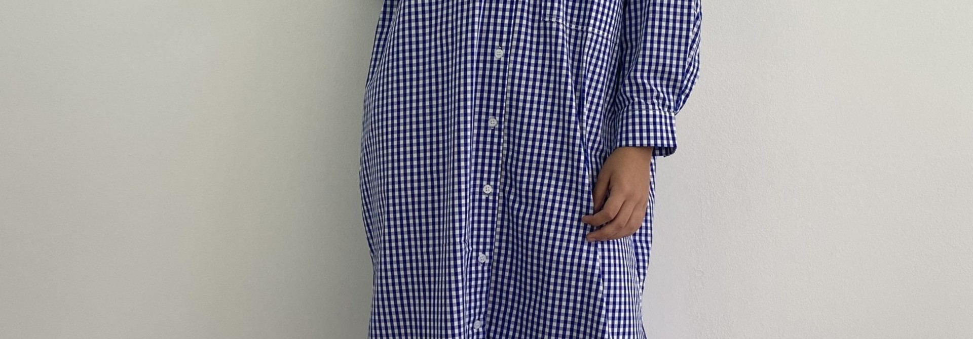 Harlow midi shirtdress Vichy Black Cobalt