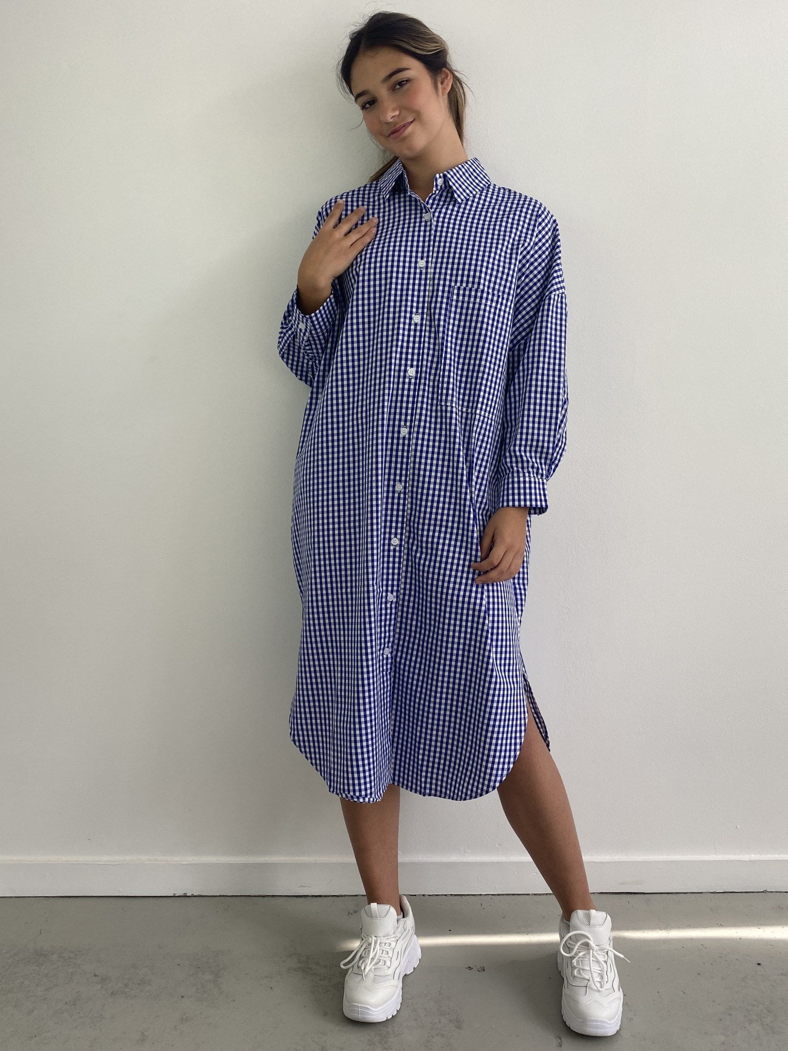 Harlow midi shirtdress Vichy Black Cobalt-1