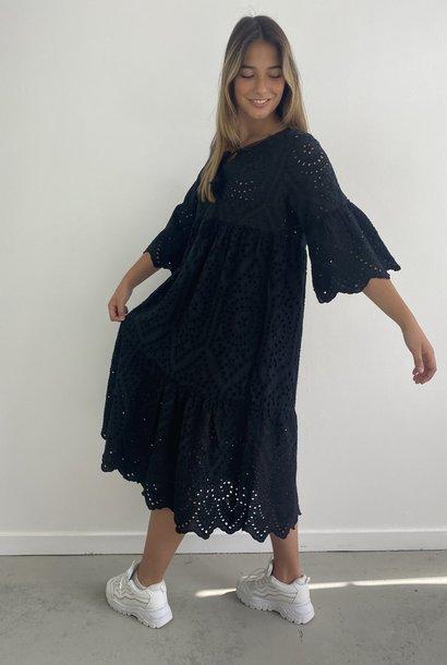 Patley broderie midi dress Black