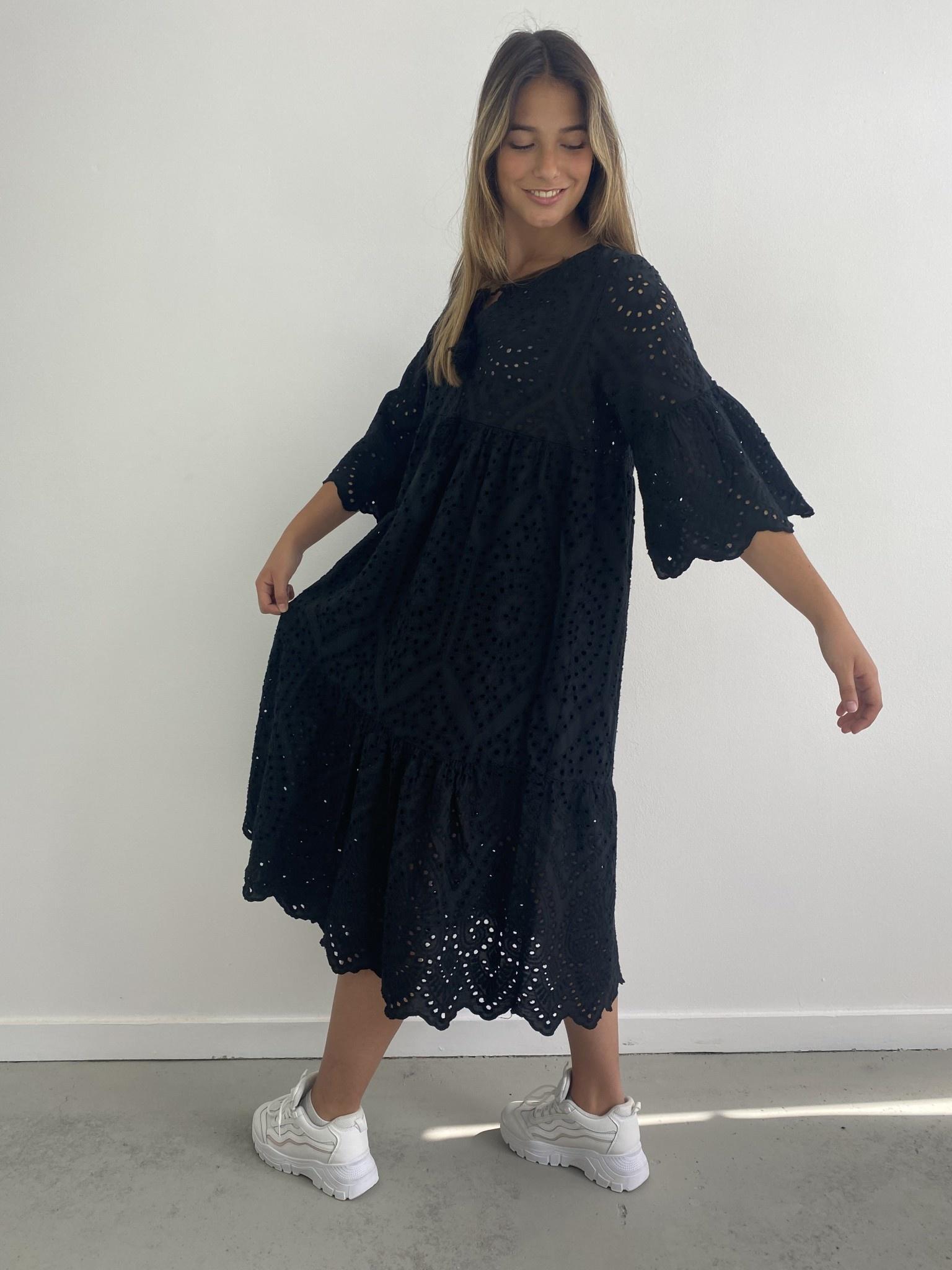 Patley broderie midi dress Black-1