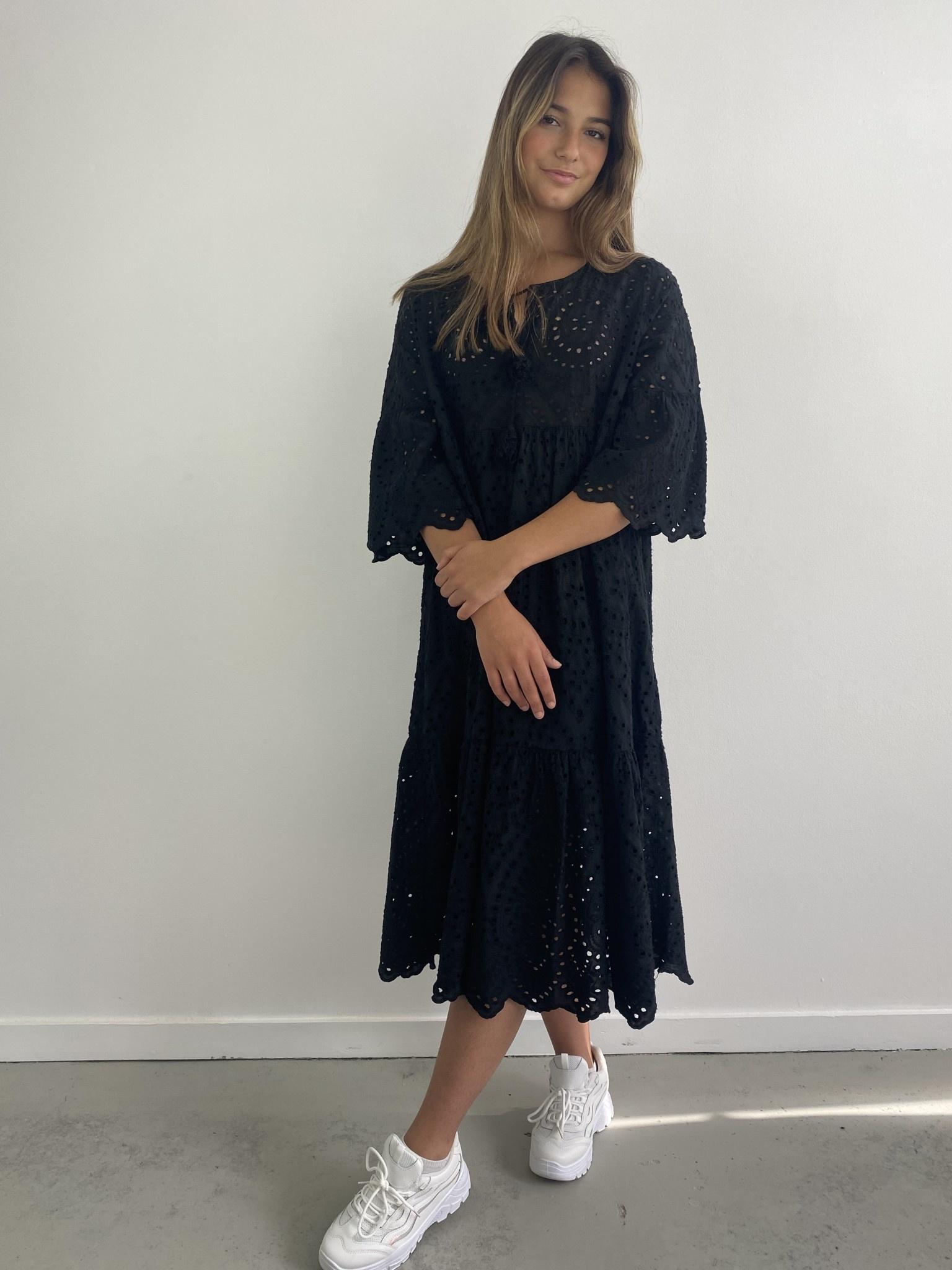 Patley broderie midi dress Black-2