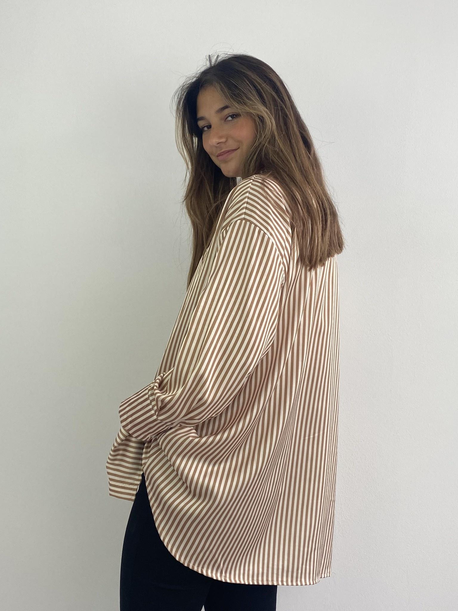 Ambrea stripped satin blouse Camel-2