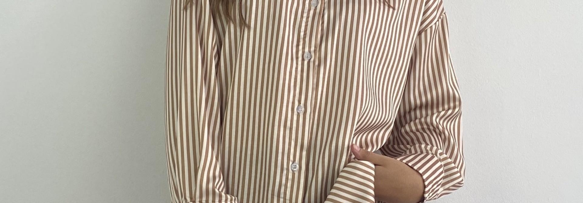 Ambrea stripped satin blouse Camel