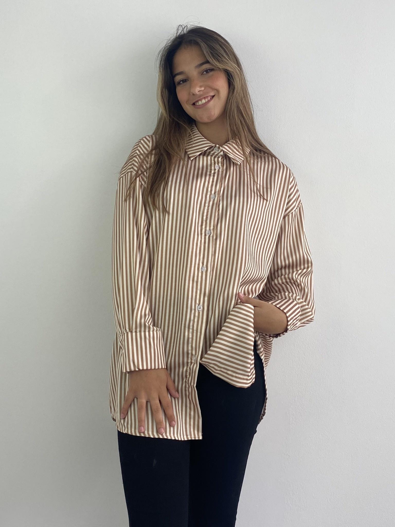 Ambrea stripped satin blouse Camel-1