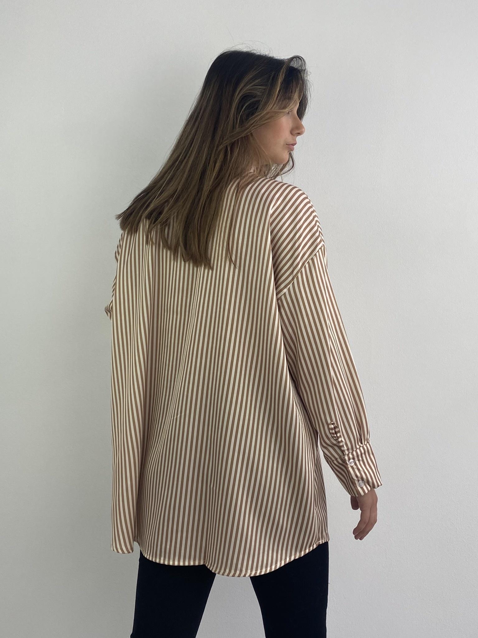 Ambrea stripped satin blouse Camel-3