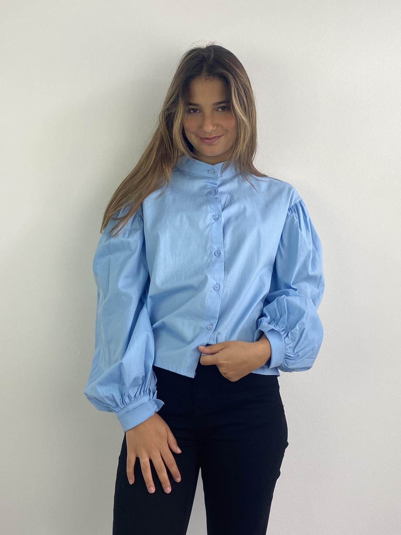 Cortenia ballonsleeve shirt Blue-1