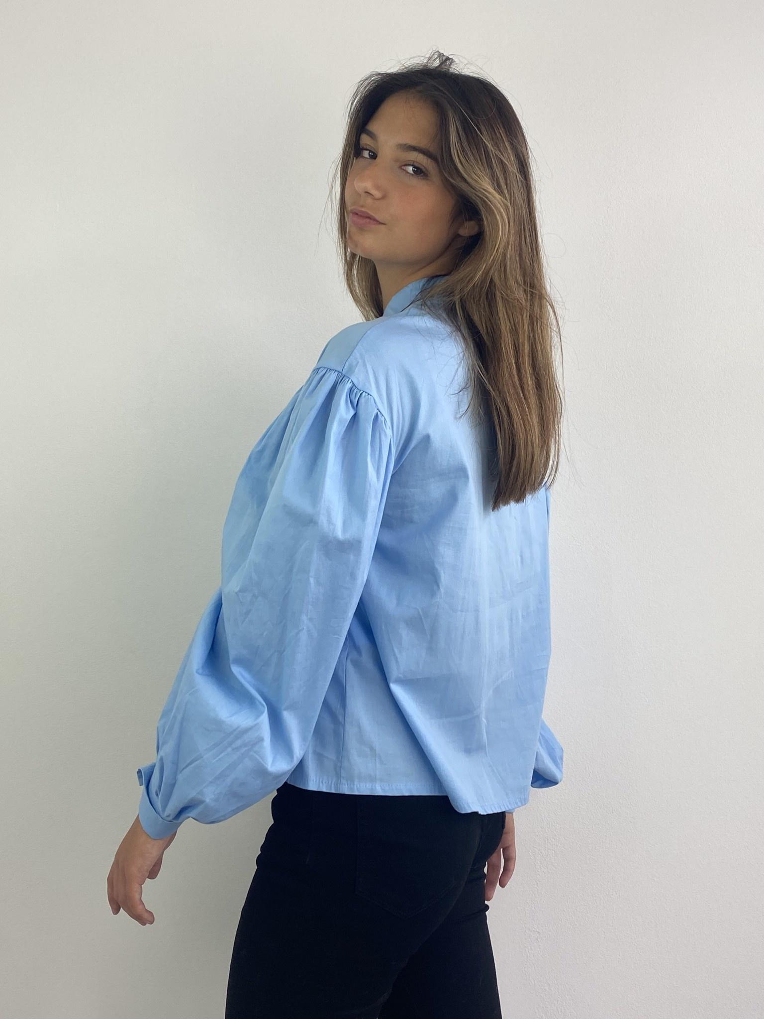 Cortenia ballonsleeve shirt Blue-3