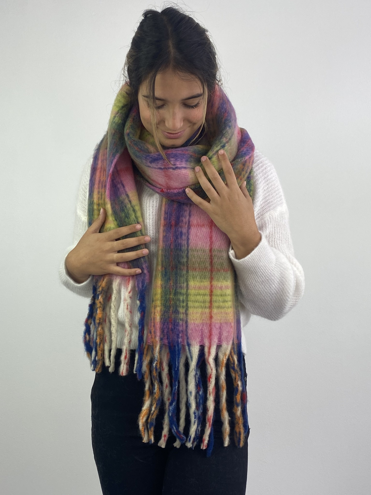 Willow checkered scarf Pink-2