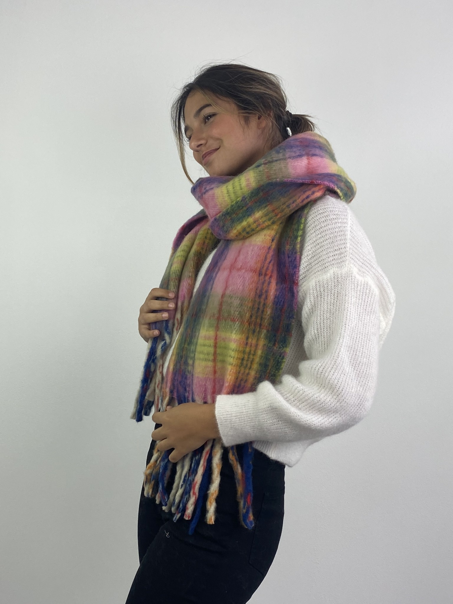 Willow checkered scarf Pink-1
