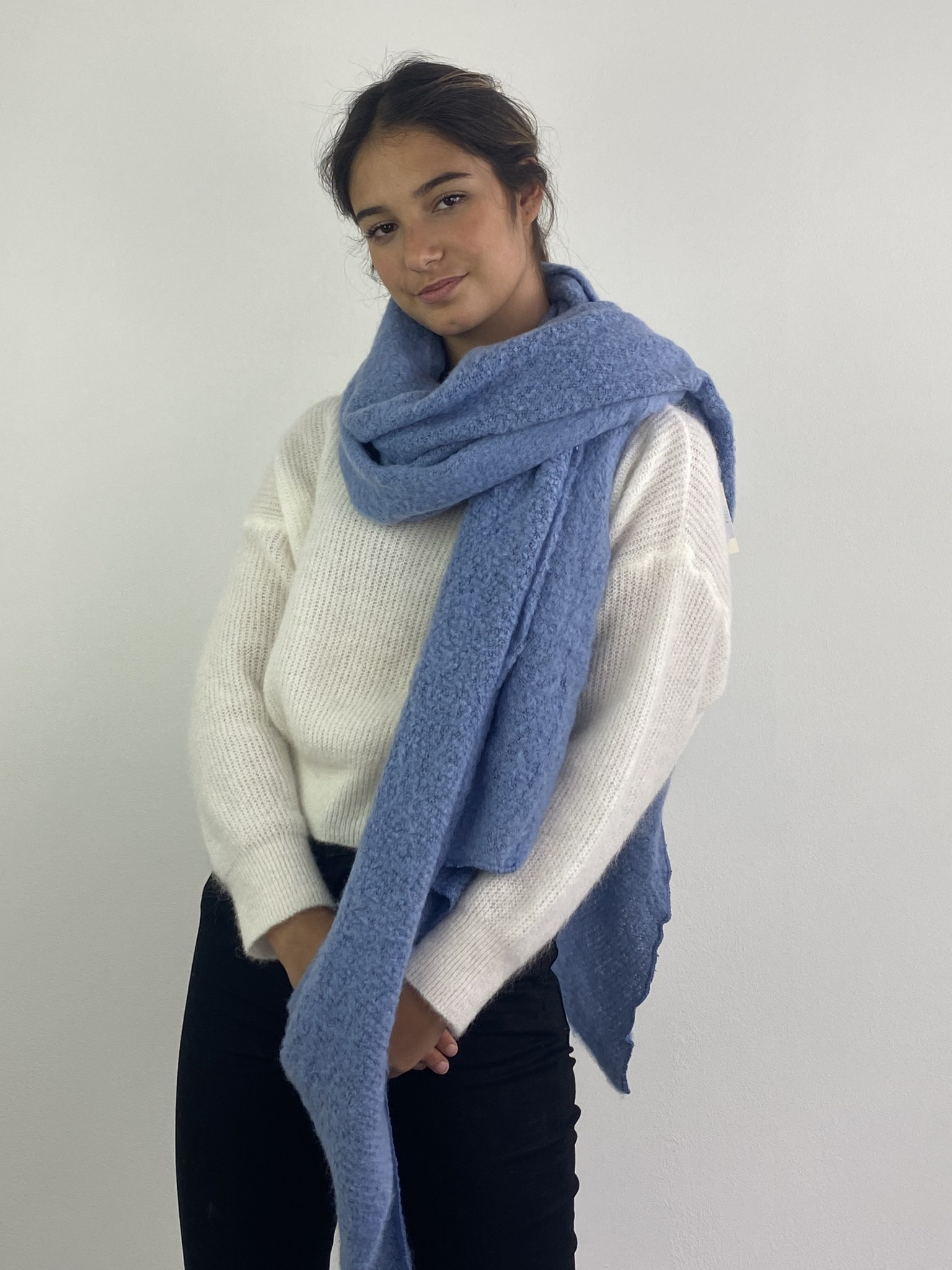 Ülka essential scarf Blue Denim-1
