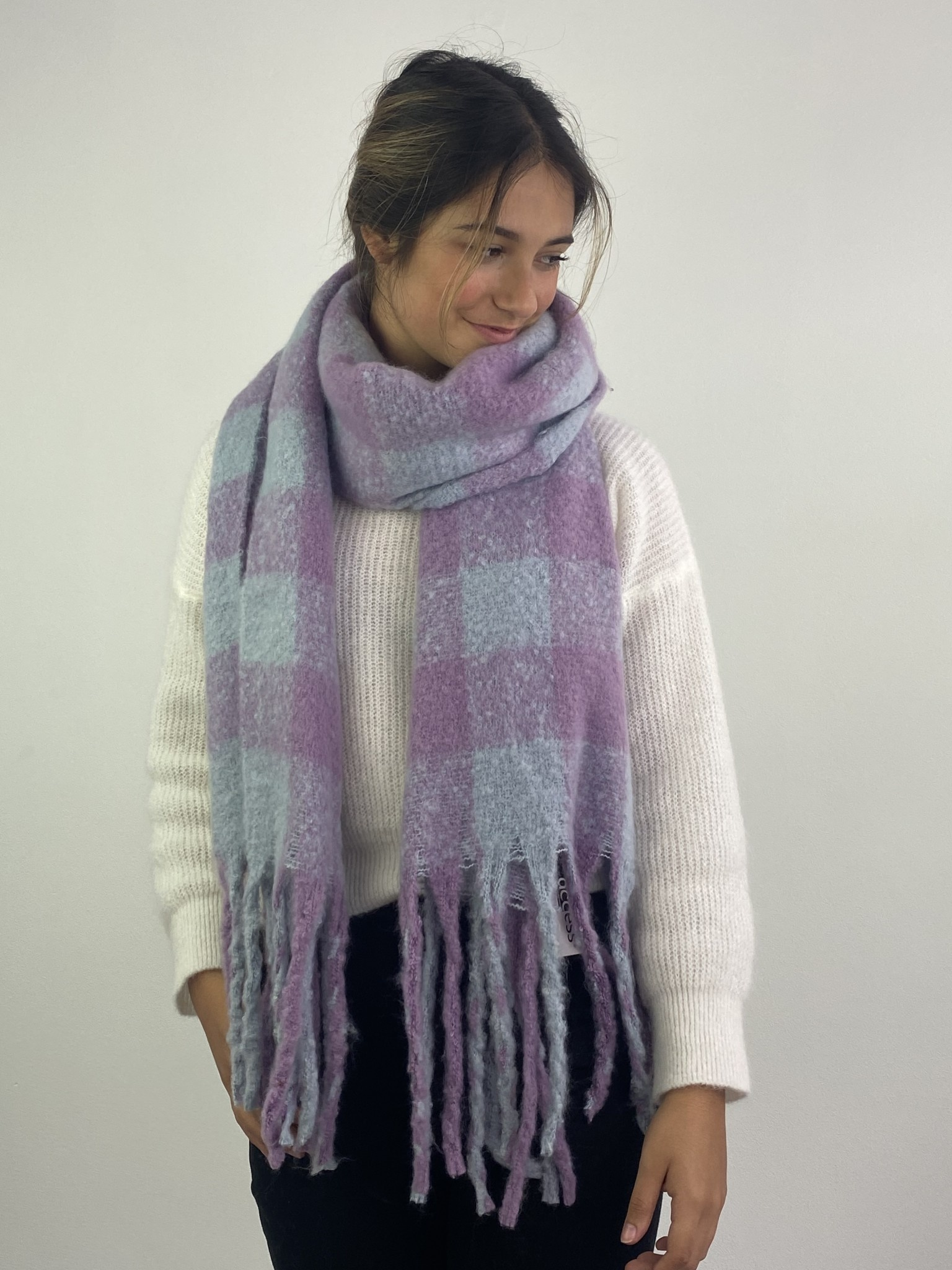 Parker checkered scarf Lila-1