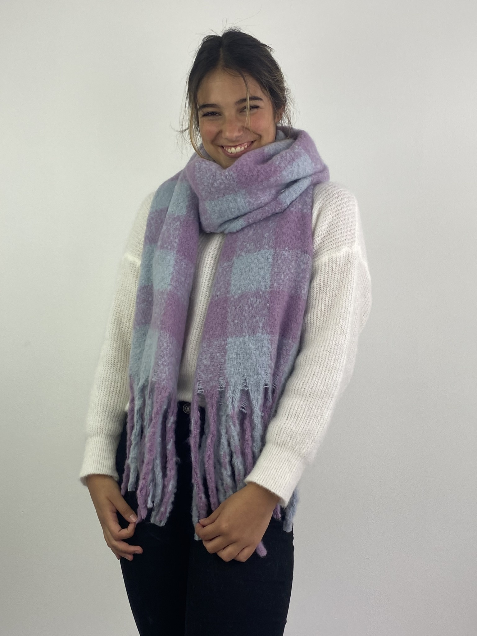 Parker checkered scarf Lila-2