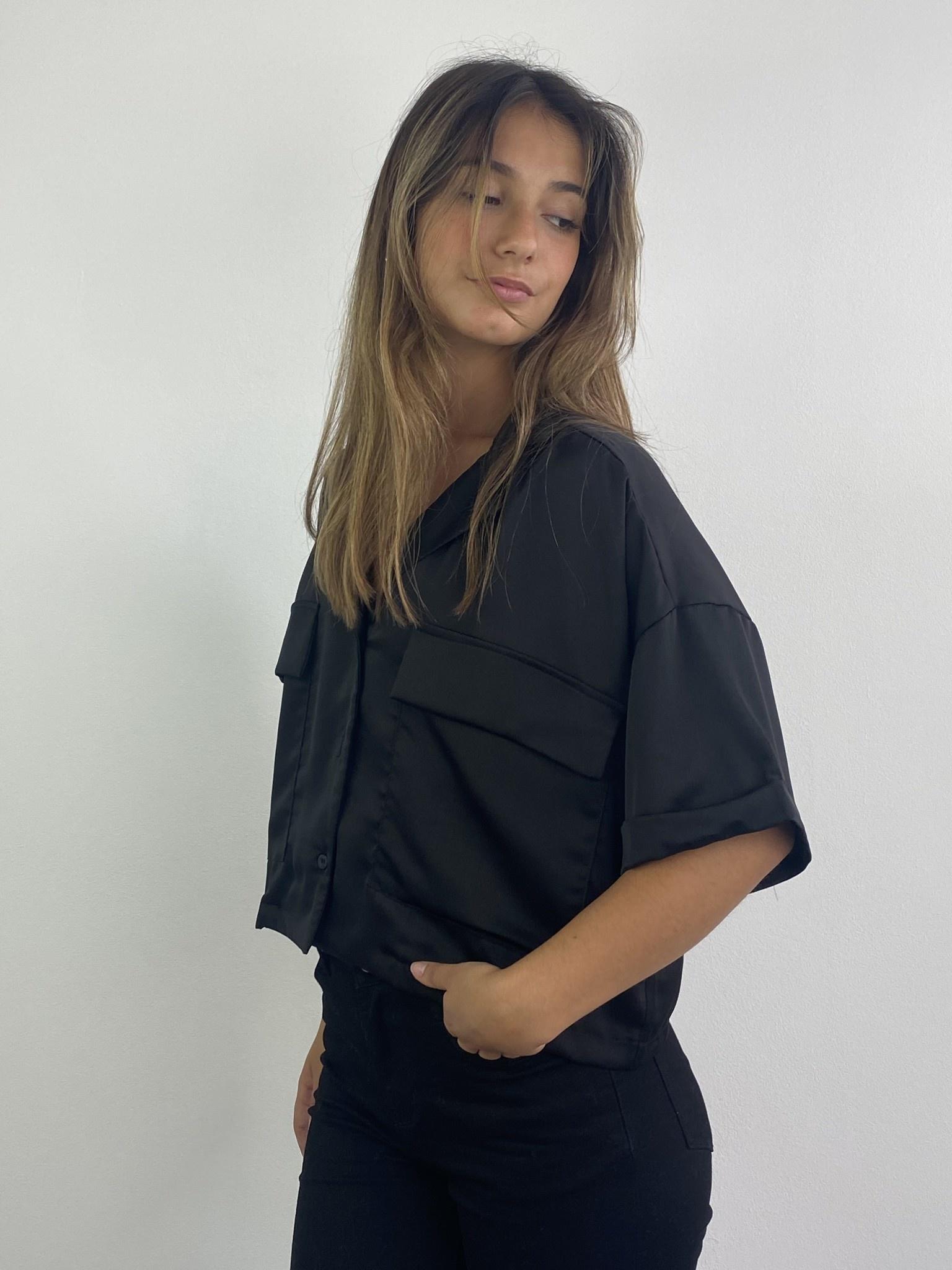 Teagan cropped satin blouse Black-2