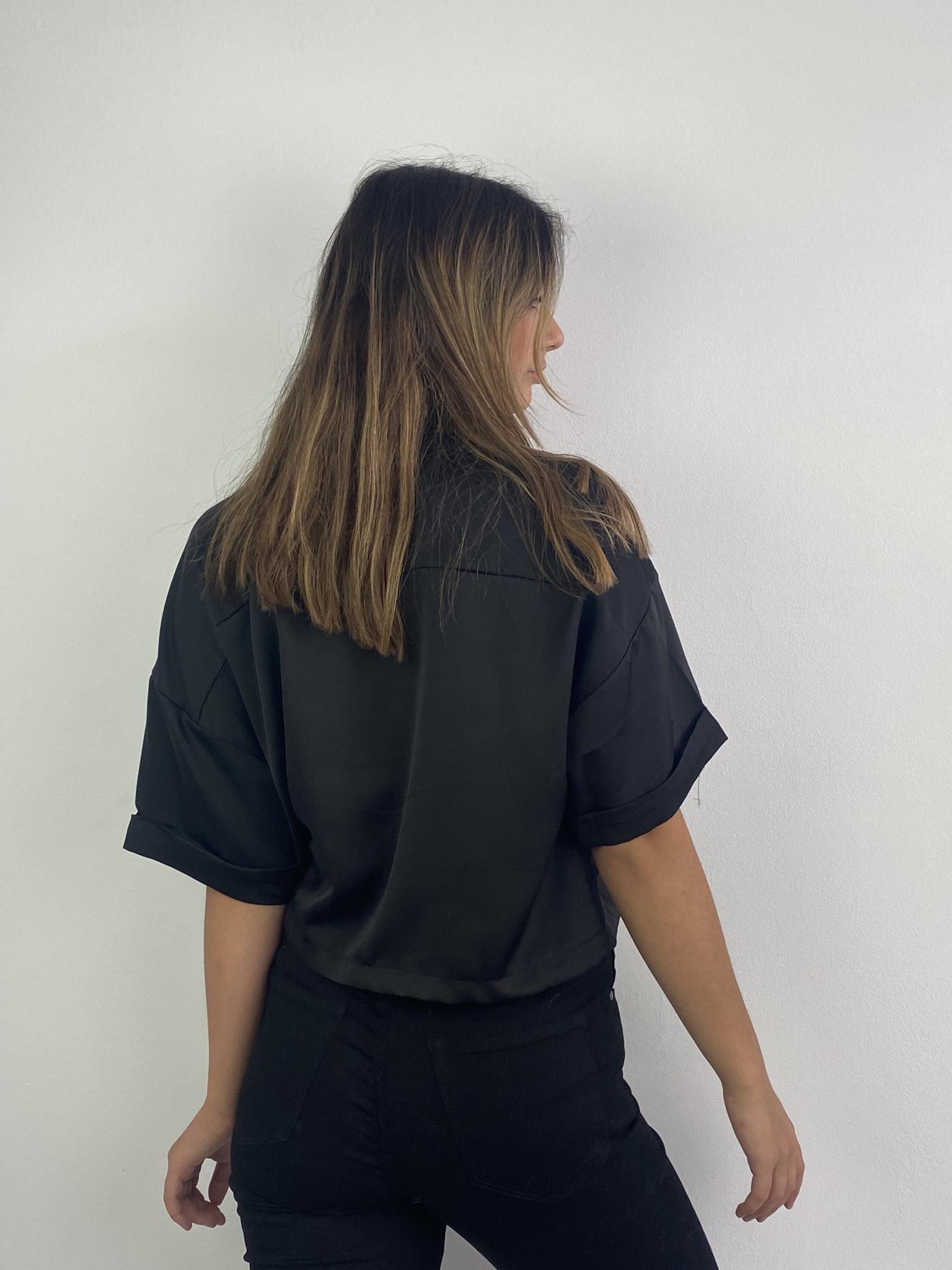 Teagan cropped satin blouse Black-3