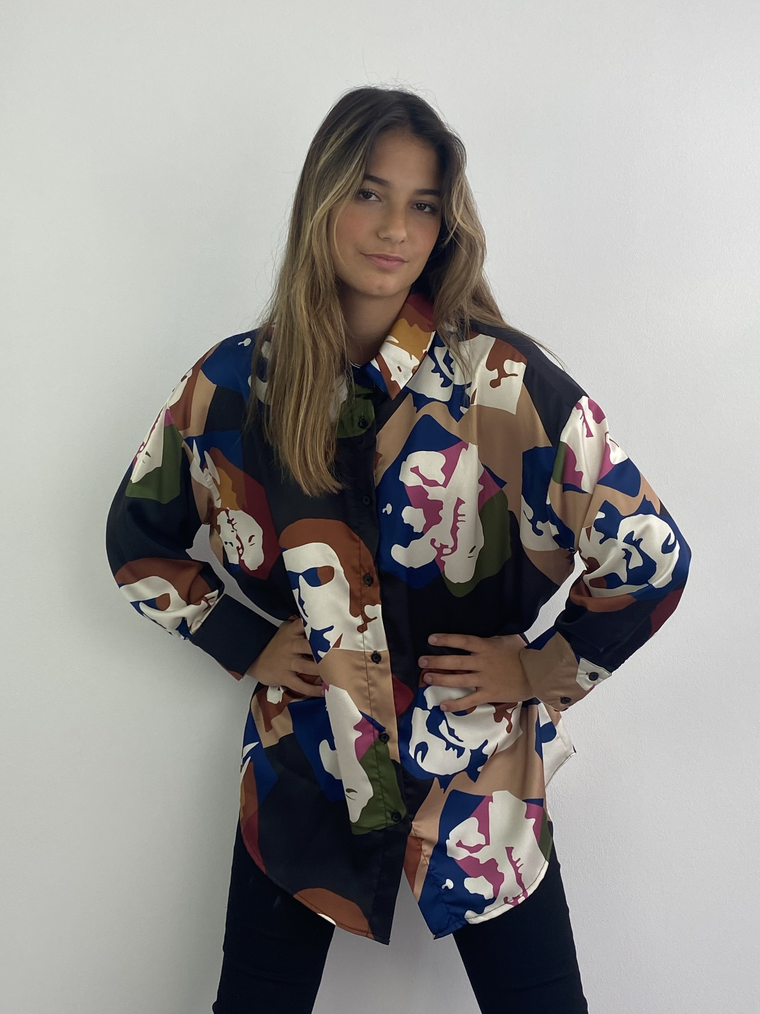 Faces oversized satin blouse Black-1