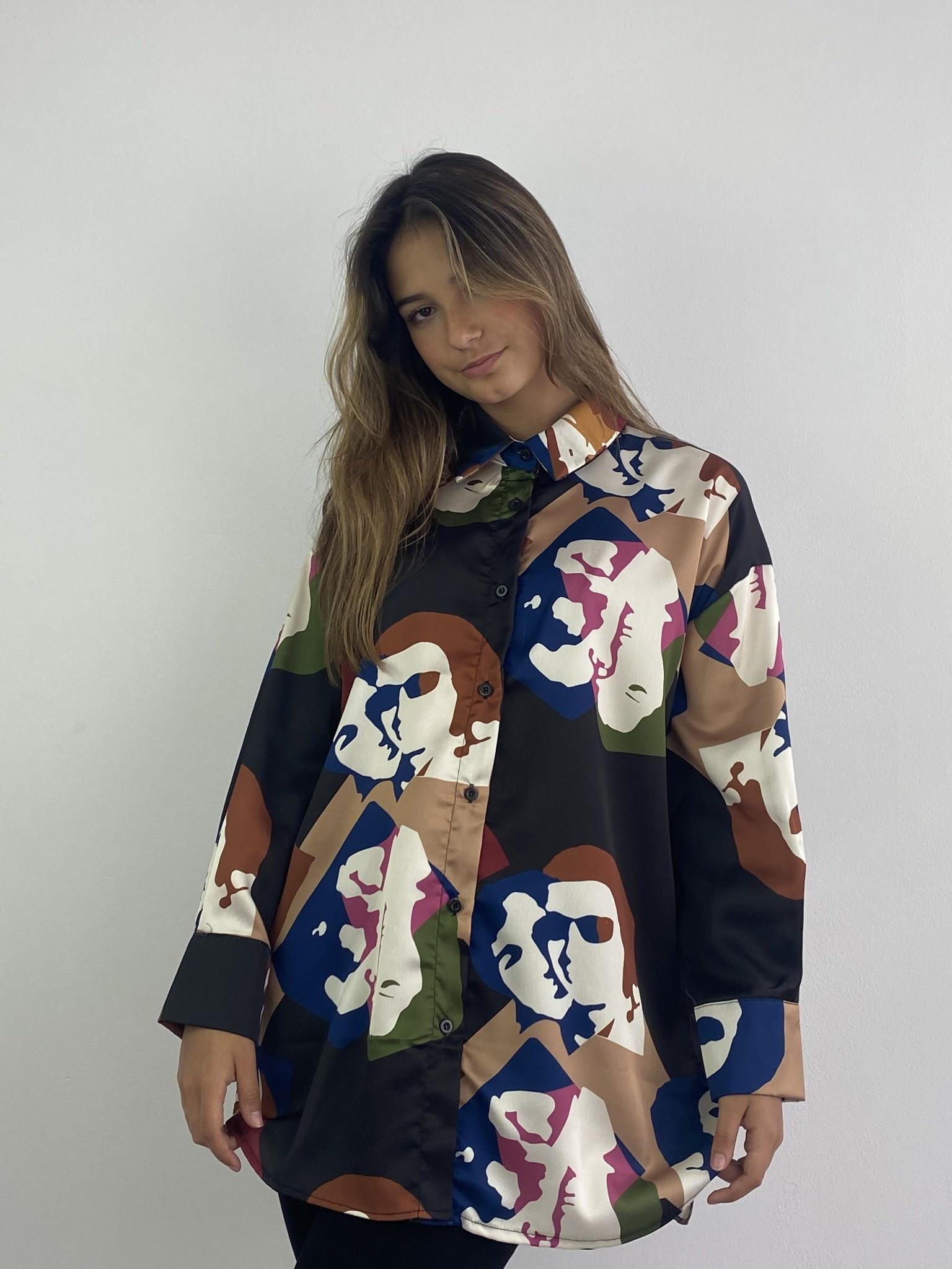 Faces oversized satin blouse Black-4