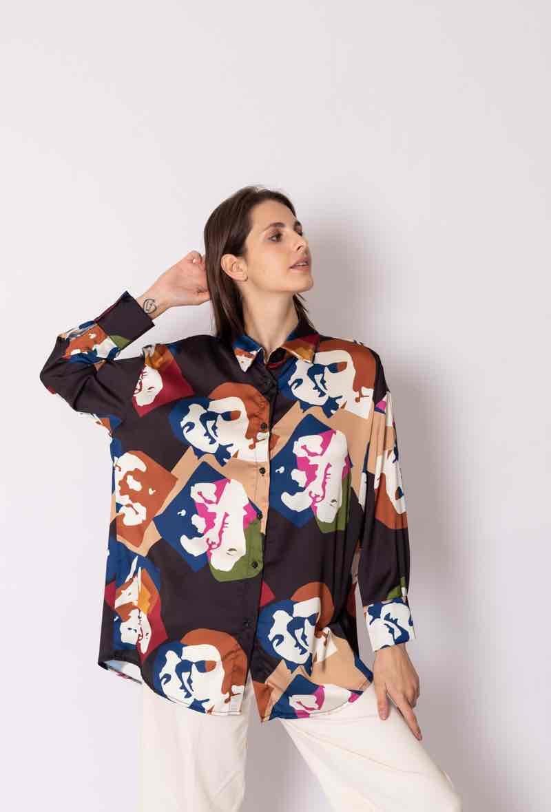 Faces oversized satin blouse Black-5