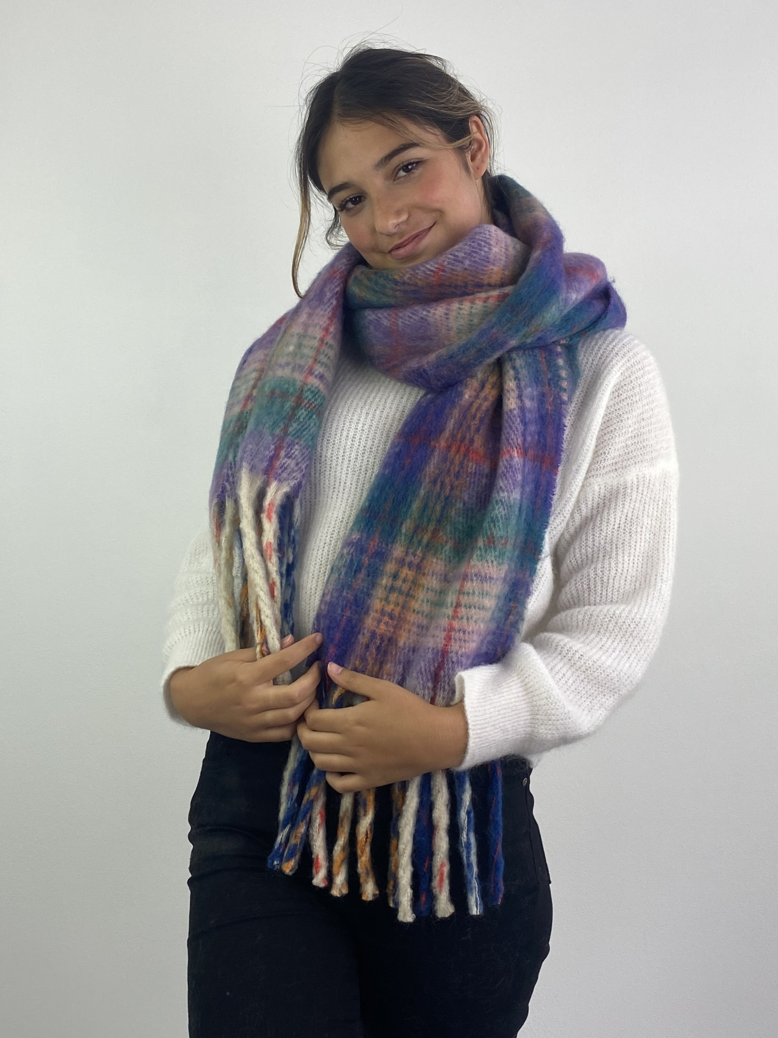 Willow checkered scarf Lila-2
