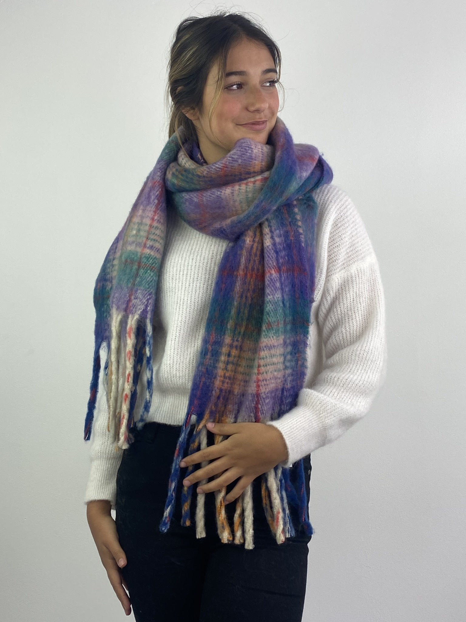 Willow checkered scarf Lila-1