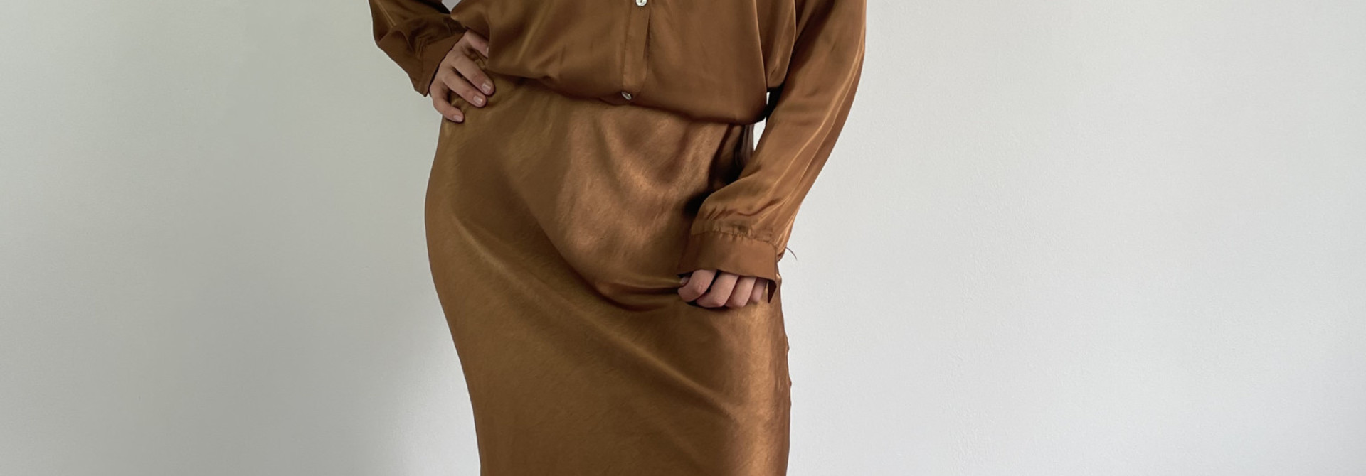 Babet satin skirt Camel