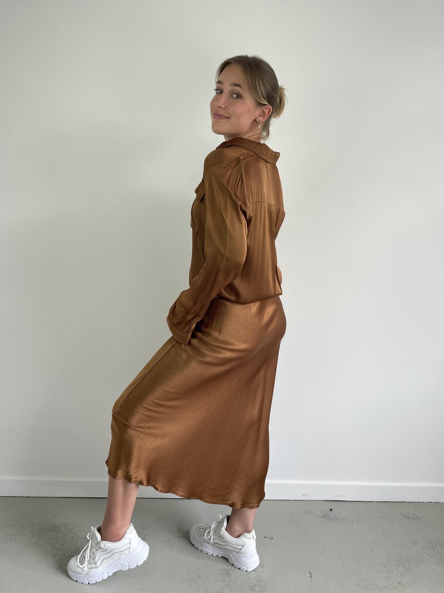 Babet satin skirt Camel-2