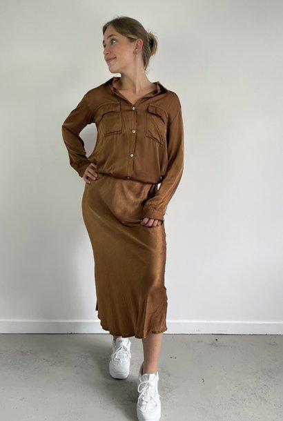Nallé satin blouse Camel