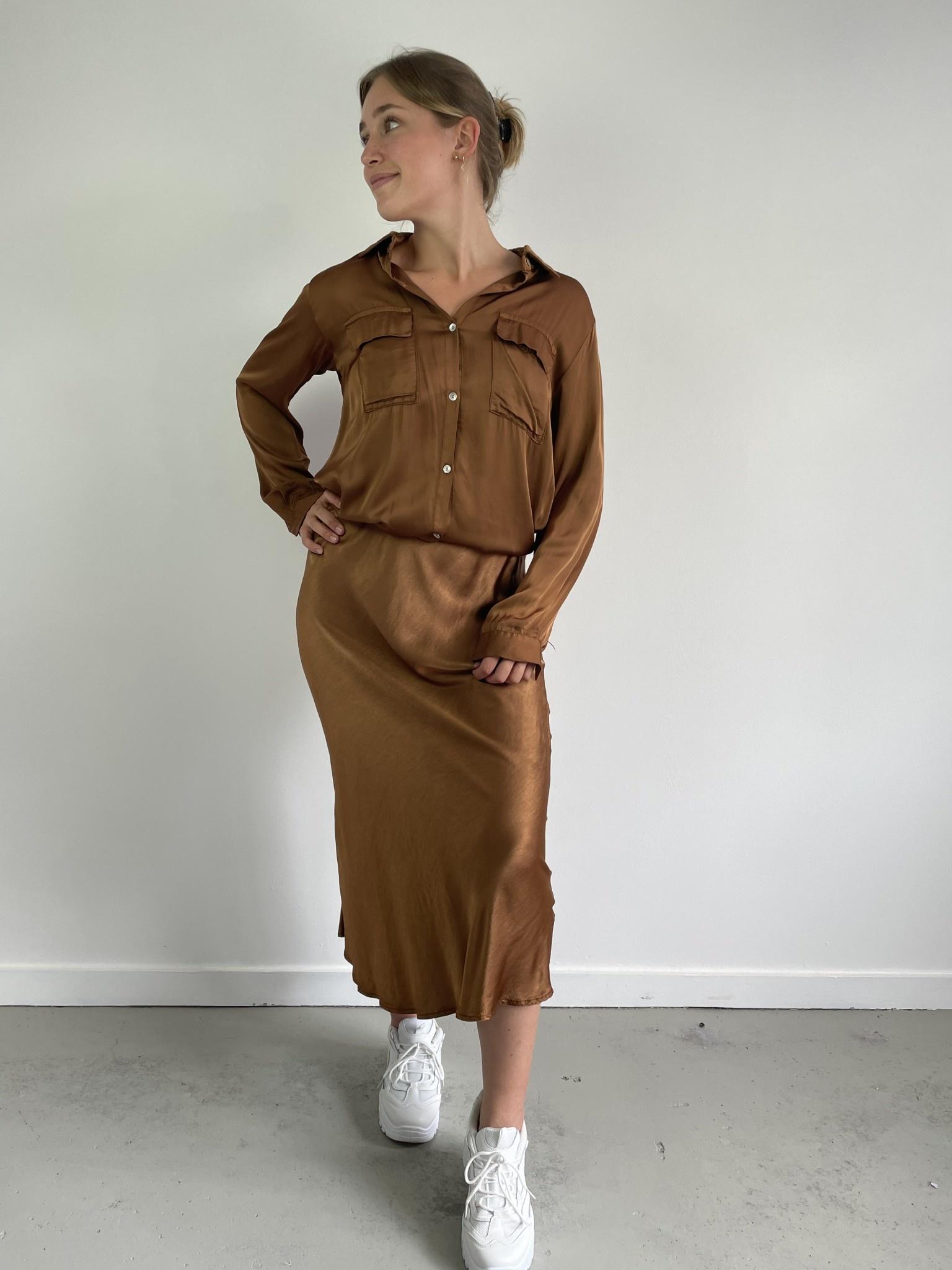 Nallé satin blouse Camel-1
