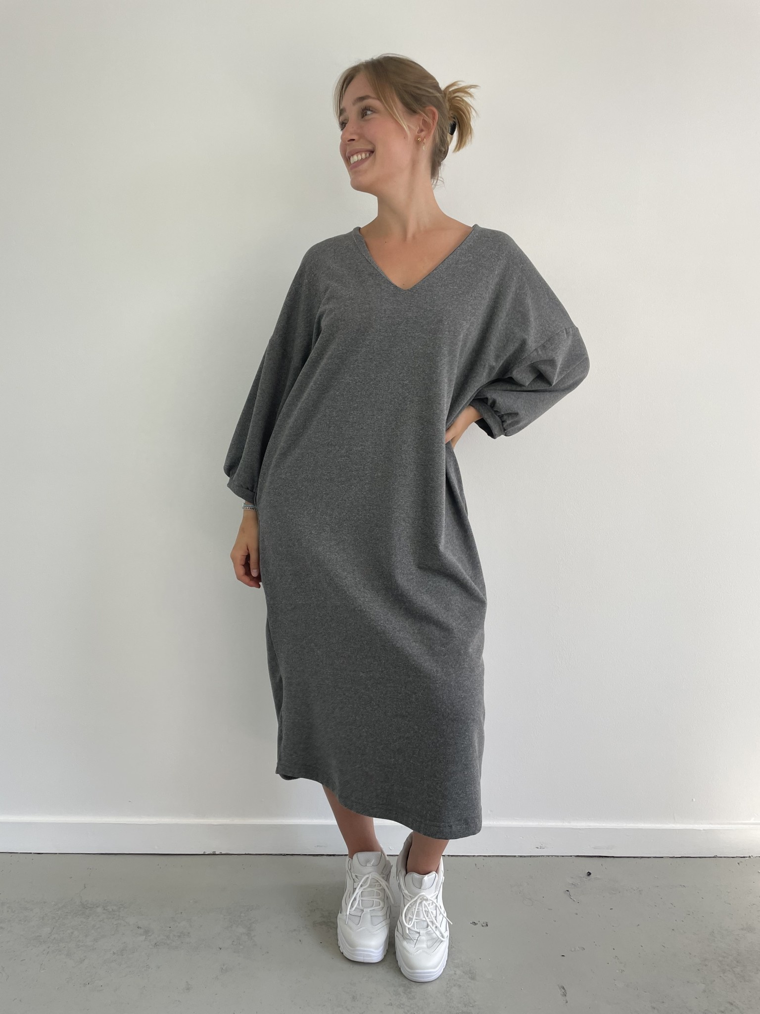 Tenel V-neck sweatdress Grey-2