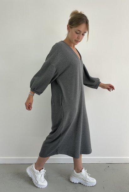 Tenel V-neck sweatdress Grey