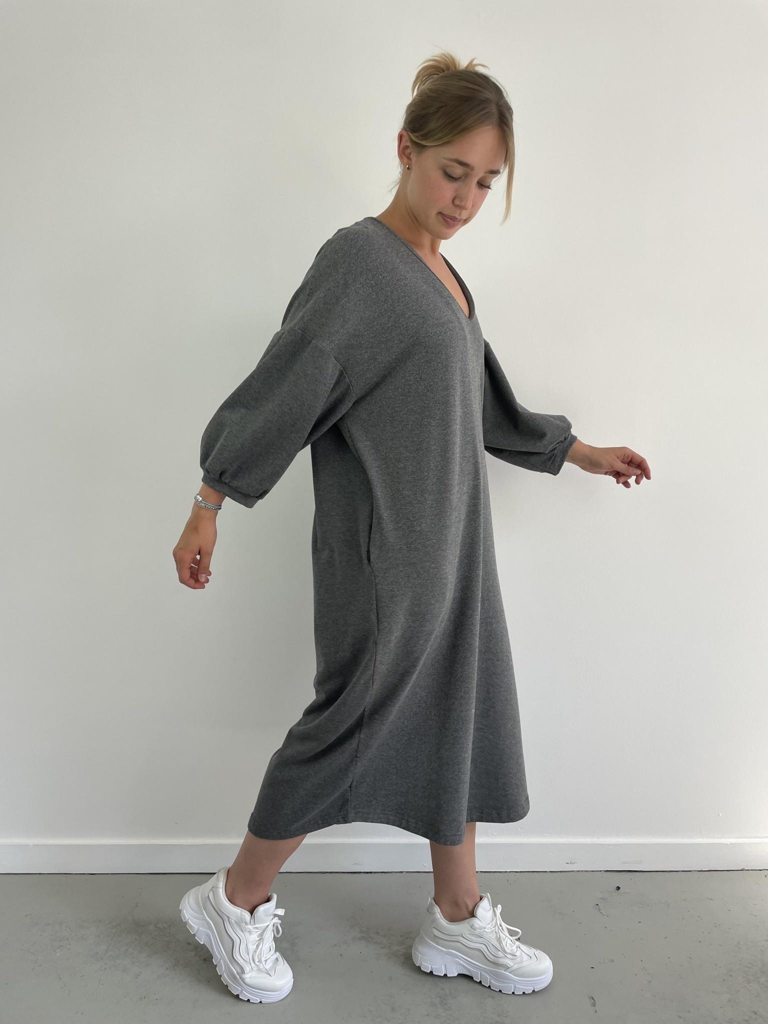 Tenel V-neck sweatdress Grey-1