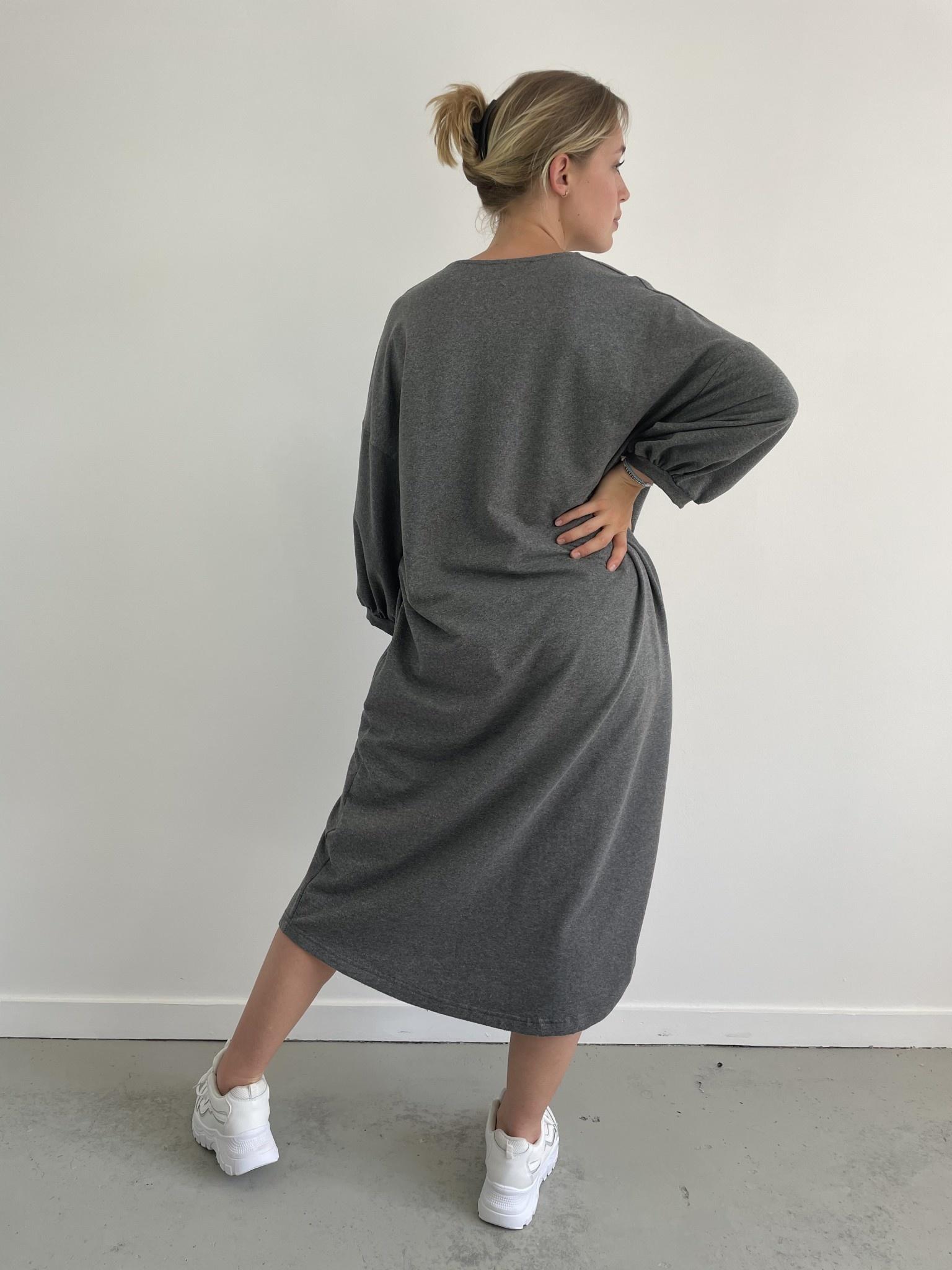 Tenel V-neck sweatdress Grey-3