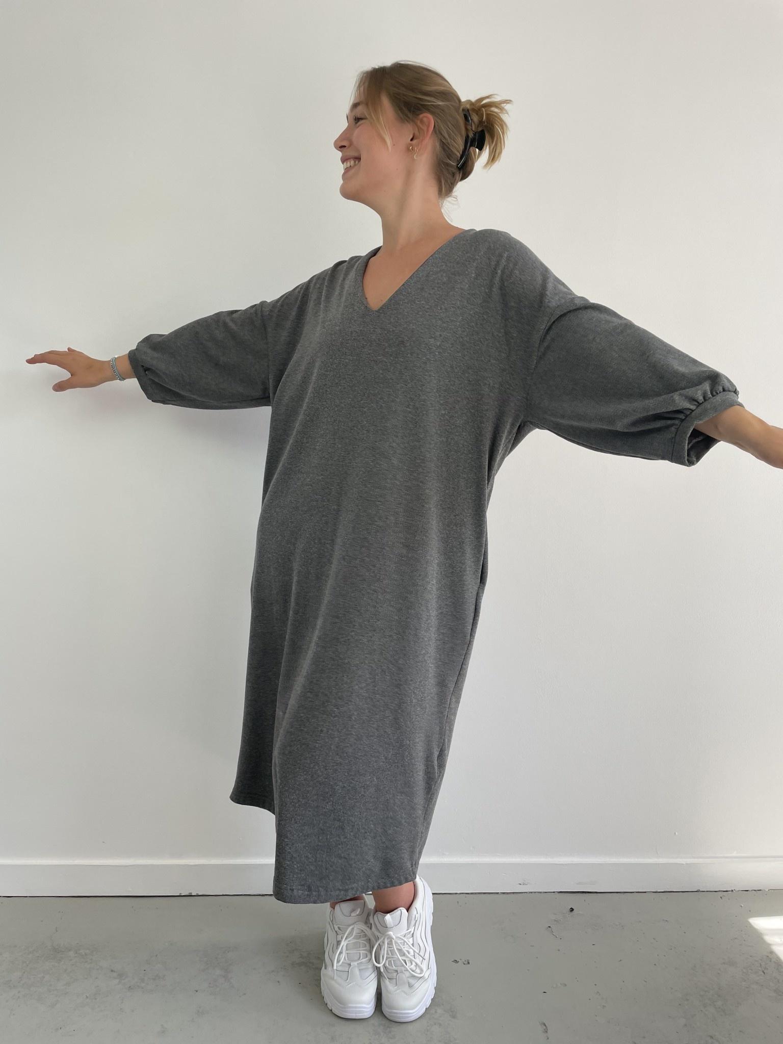 Tenel V-neck sweatdress Grey-4
